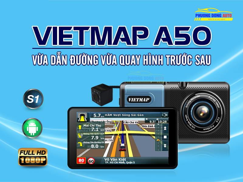 Camera hành trình vietmap A50 hỗ trợ ghi hình trước sau kiêm dẫn đường