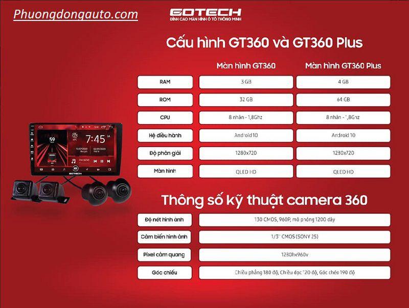Màn hình liền camera 360 Gotech GT360 chất nhất